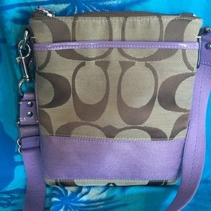 Coach Signature Lilac Stripe Crossbody Swingpack